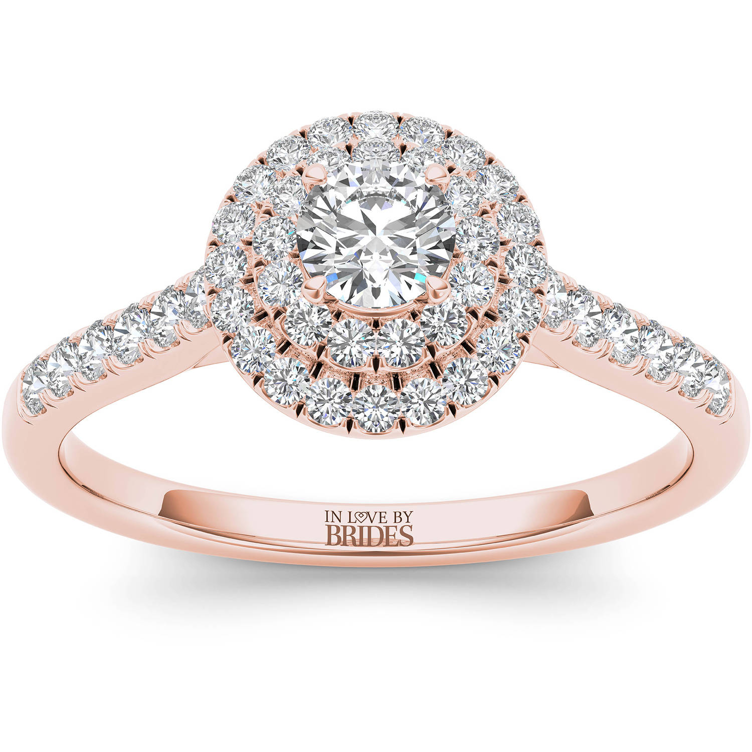 IN LOVE BY BRIDES 1/2 Carat T.W. Certified Diamond Classic Halo 14kt Pink Gold Engagement Ring