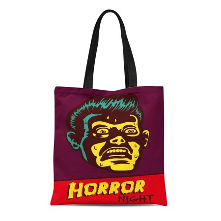 ASHLEIGH Canvas Tote Bag Horror Night Halloween Party Movie Event Terrified Vintage Man Durable Reusable Shopping Shoulder Grocery - Halloween Horror Nights Event Map