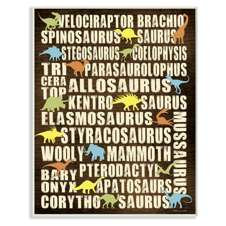 The Stupell Home Decor Collection Dinosaurs Chart Wall Plaque Art - Dinosaur Wall Decor
