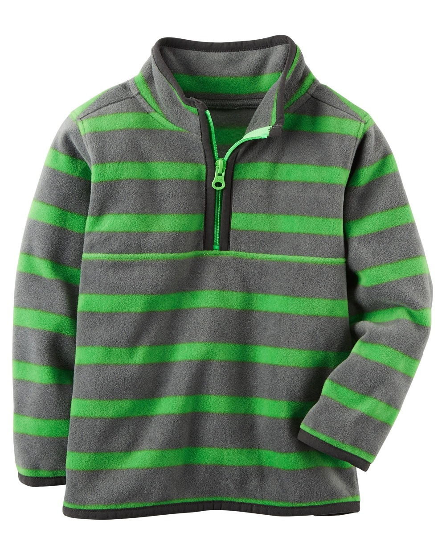 carter's baby boys' grey and green striped fleece half-zip pullover (12m)