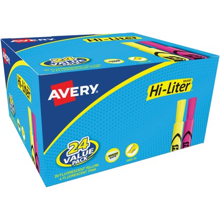 Avery HI-LITER Desk-Style Highlighter, Chisel, Assorted Colors, 24/Pack