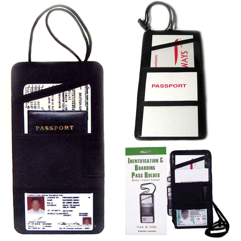 Marshal 2 LEATHER BOARDING PASS PORT HOLDER TRAVEL WALLET ID US PASSPORT TICKET BLACK