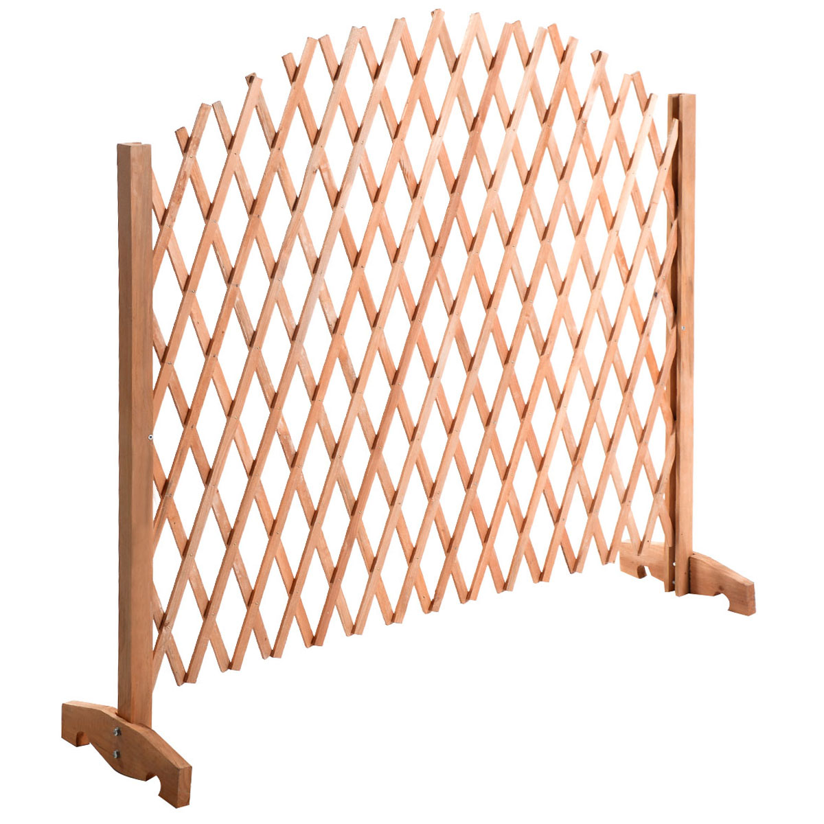 Costway Expanding Portable Fence Wooden Screen Dog Gate Pet Safety Kid Patio  Garden Lawn