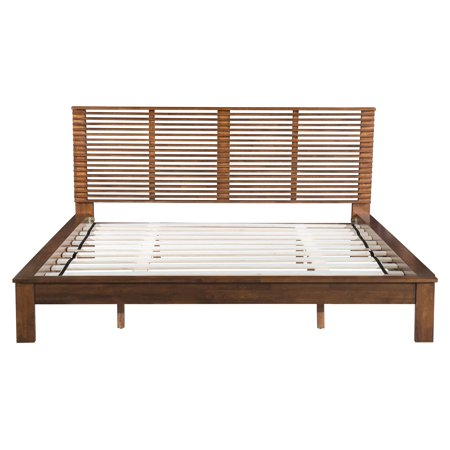 Modern Contemporary Urban Bedroom King Size Bed Frame Platform Brown Rubber Wood Veneer Mdf