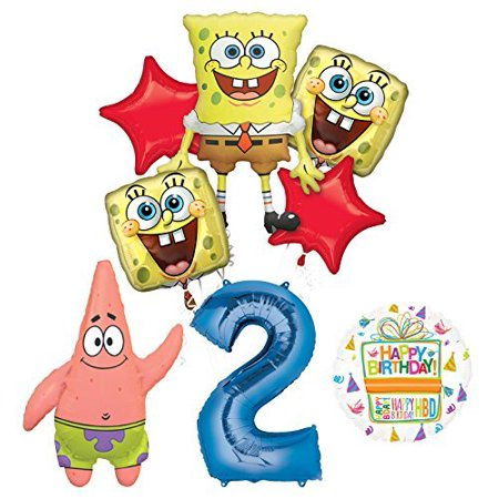 Spongebob Squarepants 2nd Birthday Party Supplies and Balloon Bouquet - Spongebob First Birthday