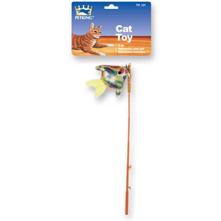 Pet king cat toy fishing pole 2 pack for Cat fishing pole