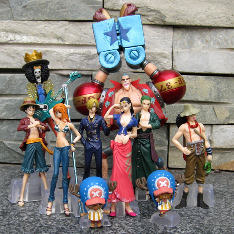 10pcs New Anime One Piece New World LUFFY NAMI 1.57-5.12in Figures Set in Box
