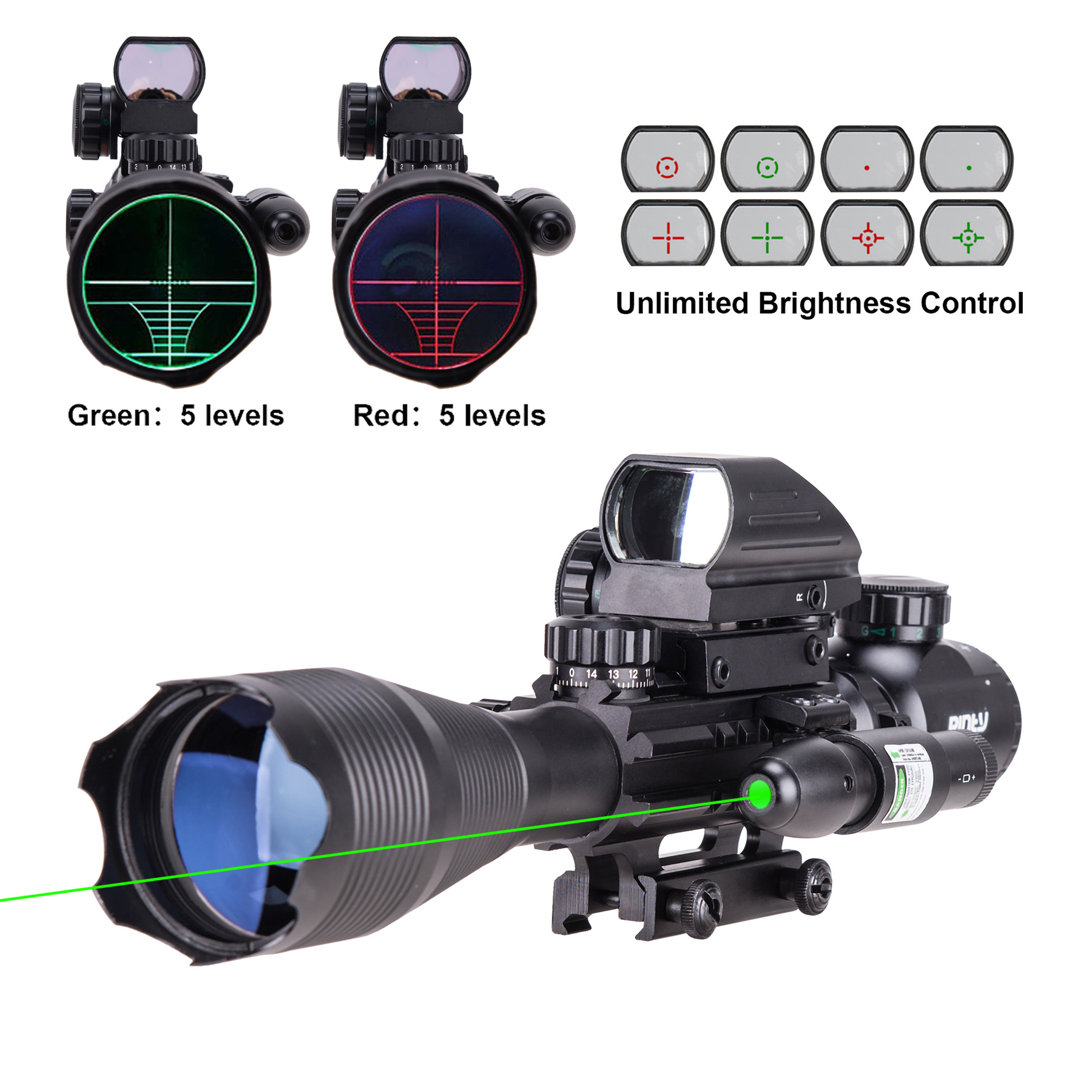New 4-16x50 AOEG Rangefinder Riflescope W/Green Laser 4 Reticle Green &Red Sight