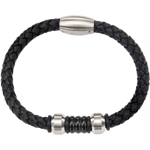 """Steel Art Men's Braided Leather with O-Rings In-Between Two Steel Matte Finished Beads and Magnetic Clasp Bracelet, 8-1/2"""""""