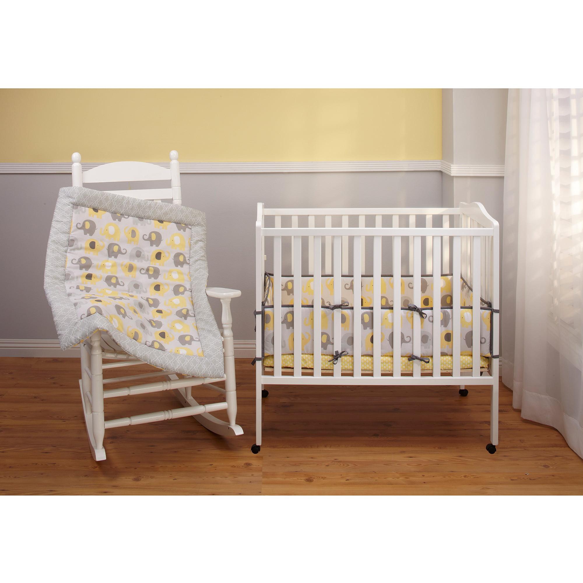 Portable Crib Little Bedding By Nojo Elephant Time Portable Crib Bumper  Yellow . Portable Crib ...