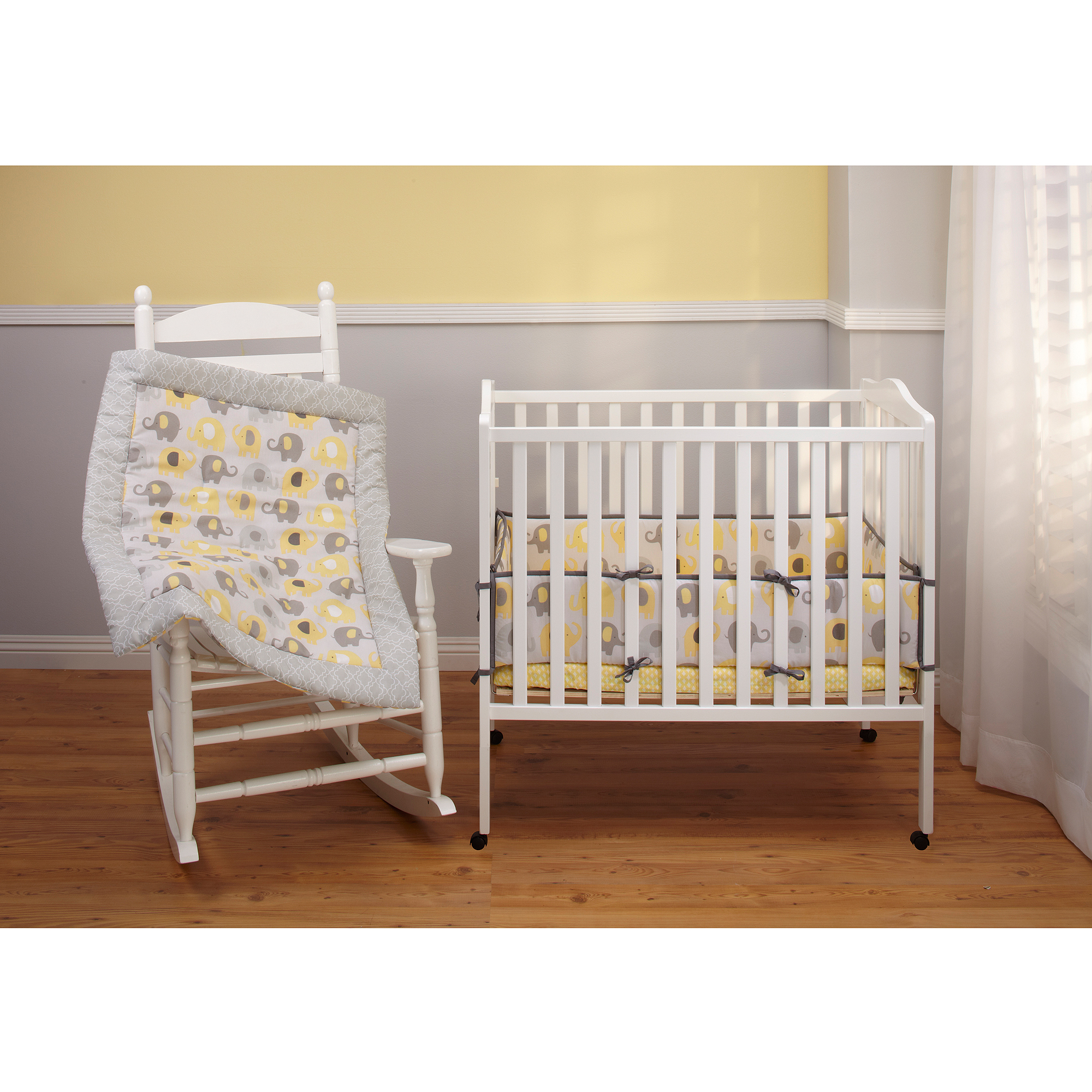Little Bedding by NoJo Elephant Time Portable Crib Bumper, Yellow