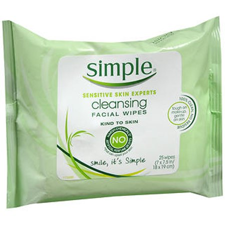 Simple Makeup Wipes for Sensitive Skin, 25 ct
