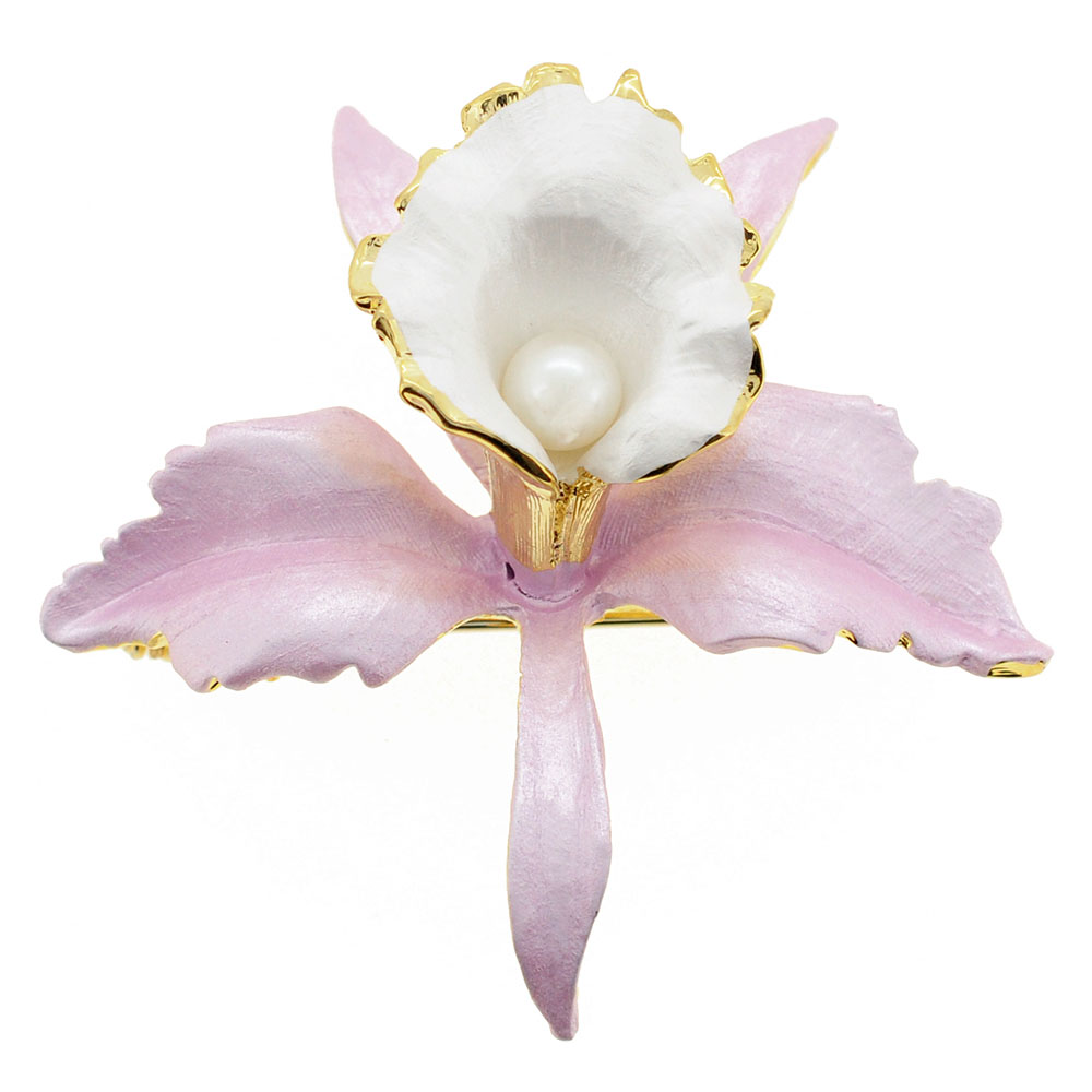 Pink White Orchid Flower Brooch Pin by
