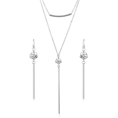 Crystal Rose Double Layer Bar Necklace and Earrings Jewelry Set Avon Set Jewelry Set