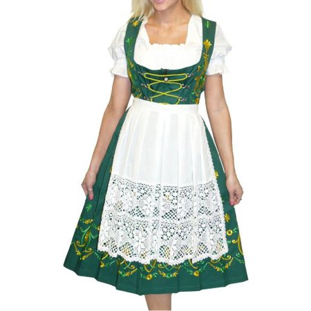 3-piece Long Green German Party Oktoberfest Dirndl Dress