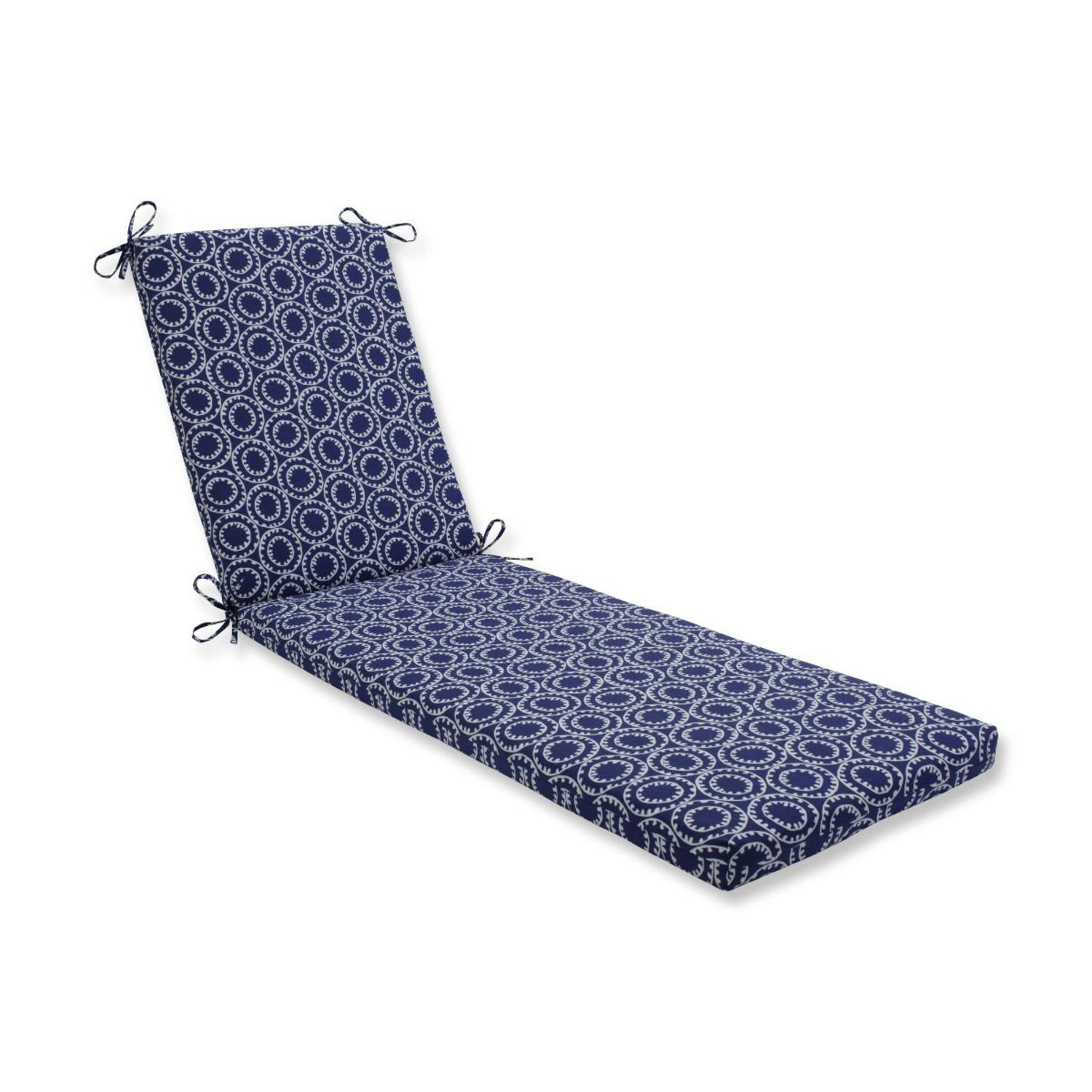 """80"""" Blue UV Resistant Outdoor Patio Chaise Lounge Cushion with Ties"""
