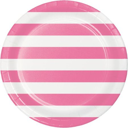 Creative Converting Dots & Stripes Candy Pink Paper Plates, 8 ct
