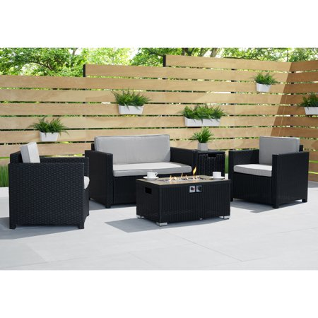 Image of Boulder 4pc Fire Seating Set in Black by Sego Lily