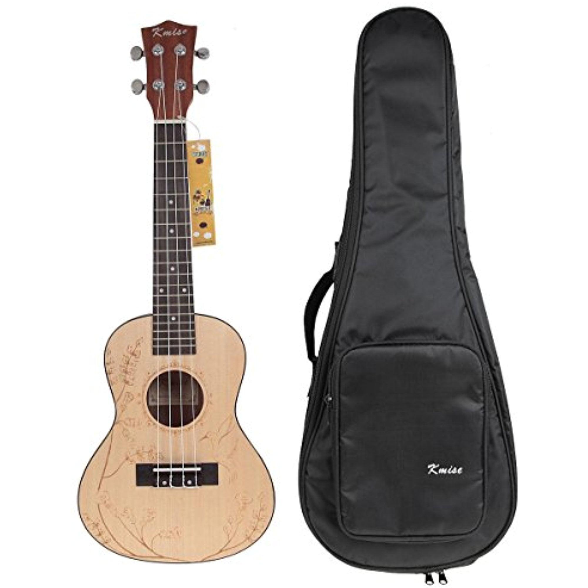 Kmise Solid Spruce Ukulele Concert Ukelele Kit with Bag 23 inch Uke Hawaii Guitar by Kmise