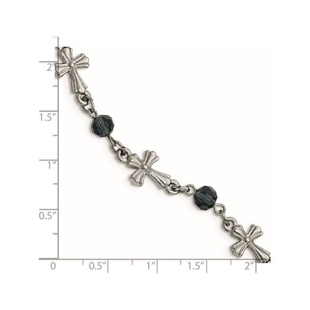 Symbols of Faith - Silver-tone Grey Glass Bead 7.5in Cross Toggle Bracelet - image 2 of 3