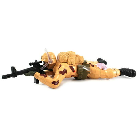 Army Support Gun (Army Corp Crawling Action Toy Soldier, Battery Operated Figure w/ Realistic Crawling Action, Flashing Lights, Gun & Fire Sounds (Colors May Vary) )