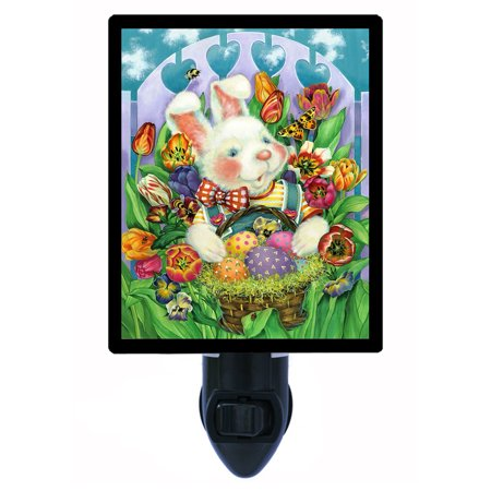 Night Light - Photo Light - Bunny and Flowers - Easter -