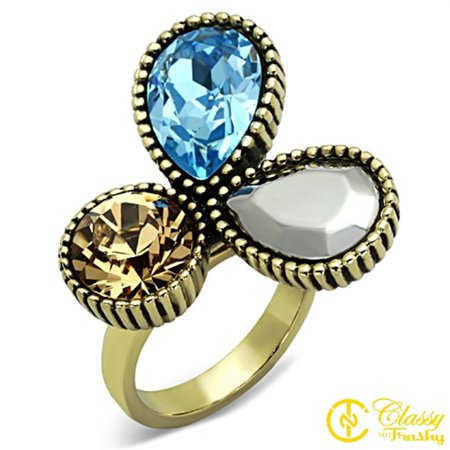 Classy Not Trashy® Size 7 Women's Gold Toned Three Leaf Multicolor Crystal Flower Ring
