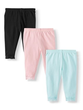Garanimals Baby Girl Solid Leggings with Lace, 3-Pack