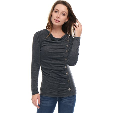 allegra k ladies casual cowl neck long sleeve button decor tunics dark grey -