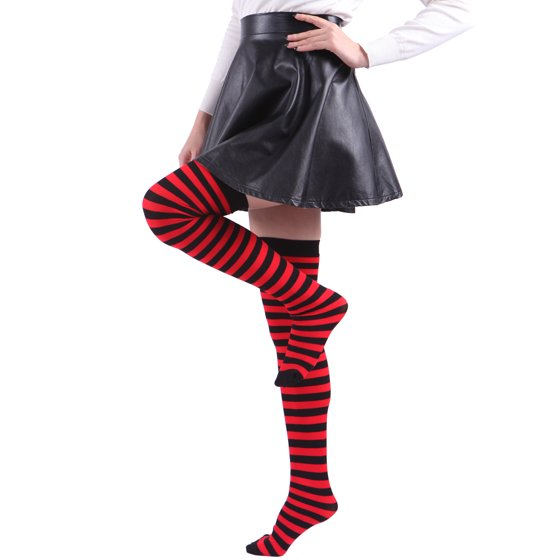 f776e5fd83c HDE - HDE Women s Plus Size Striped Stockings Thigh High Over the ...