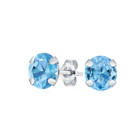 (Round Natural Gemstone Stud Post Earrings in 14K Yellow or White Gold Birthstones (8mm))