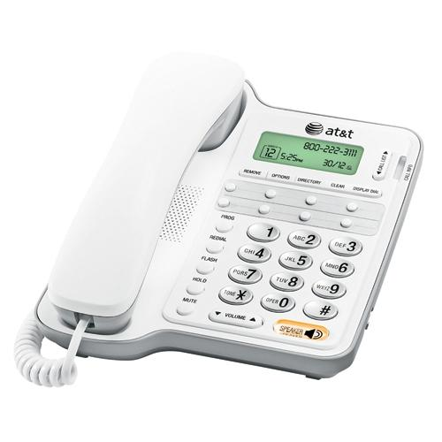 AT&T CL2909 Standard Phone - White - Corded - 1 x Phone Line - Speakerphone