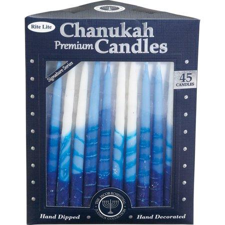 Rite-Lite Judaica Premium Chanukah Candles. Handcrafted, Tri-Color Blue/White Stripe. Box of 45, 45 Premium Hanukkah candles By Rite Lite Judaica,USA