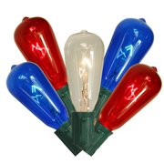 Set of 10 Transparent Red, Clear & Blue 4th of July Glass ST40 Edison Style Christmas Lights - Green Wire