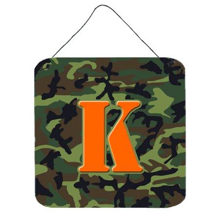 Letter K Initial Monogram - Camo Green Wall or Door Hanging Prints ()