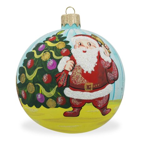 Santa by Christmas Tree with Gifts Glass Ball Christmas Ornament 3.25 Inches