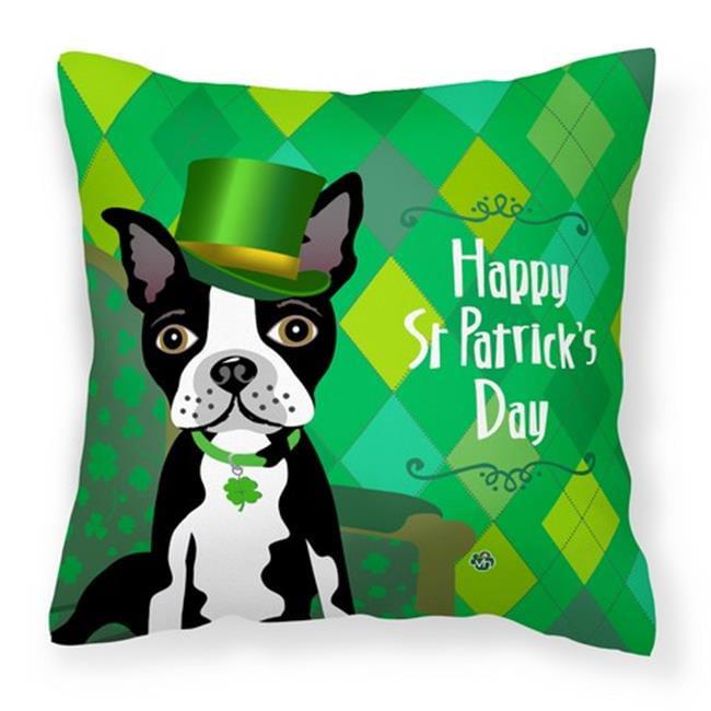 Carolines Treasures VHA3006PW1414 St Patricks Day Boston Terrier Fabric Decorative Pillow, 14 x 3 x 14 in. - image 1 of 1