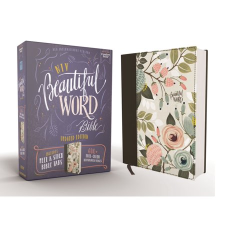 Niv, Beautiful Word Bible, Updated Edition, Peel/Stick Bible Tabs, Cloth Over Board, Multi-Color Floral, Red Letter, Comfort Print : 600+ Full-Color Illustrated (Two Letter Scrabble Words Beginning With C)