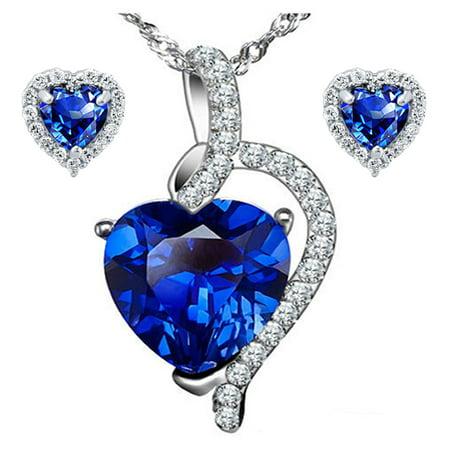 Blue Gem Heart - 4.10 Carat TCW Heart Cut Gemstone Created Blue Sapphire 925 Sterling Silver Necklace Pendand & Earrings 3 Pieces Jewelry Set