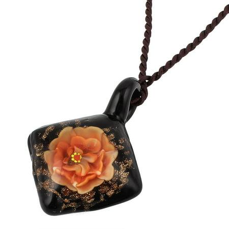 Unique Bargains Glass Pressed Flower Square Shape Pendant Necklace Neckwear Orange Black (Squares Neckwear)