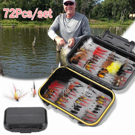 WALFRONT Bionic fly hook bait Fly Fishing Accessories, Fishing Tackle,72pcs Multi-color Fly Fishing Lure Handmade Flies Fishing Tackle Fly Box With Waterproof Fly Box for Trout (Best Tackle For Trout Fishing)
