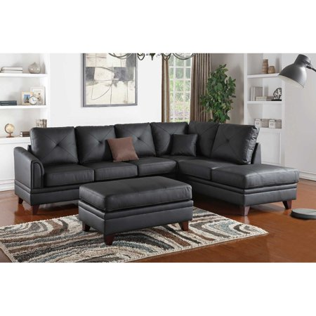 Black genuine leather sectional sofa walmartcom for Genuine black leather sectional sofa