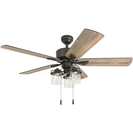 Prominence Home 50566-35 River Run Farmhouse 52-Inch Aged Bronze Indoor Ceiling Fan, Multi-Arm LED 3-Light Barnwood/Tumbleweed Blades