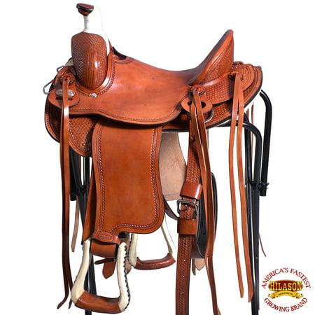 15'' HILASON WESTERN HORSE COWBOY TRAIL WADE ROPING SADDLE LIGHT OIL LIGHT OIL