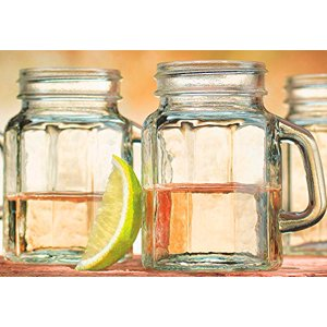 Palais Mason Jar Shot Glasses - Holds 4.5 Oz - Set of 6 (Clear Paneled Design)