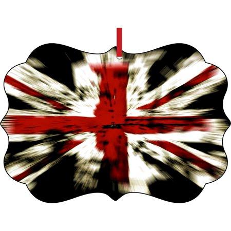 Novelty Onesies Uk (Flag England United Kingdom UK GB Great Britian British Elegant Aluminum Semigloss Christmas Ornament Tree Decoration - Unique Modern Novelty Tree Décor)