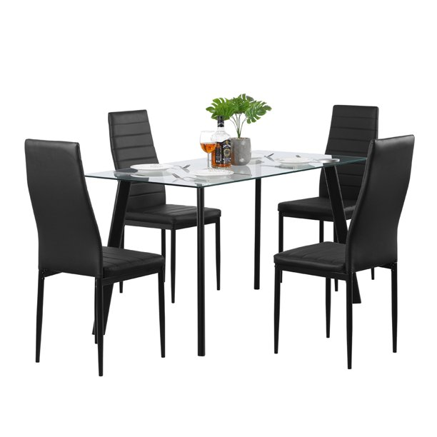 Clearance Hot 5 Piece Dining Table Set 4 Chairs Glass Metal Kitchen Room Furniture Black Dining Tables Walmart Com Walmart Com