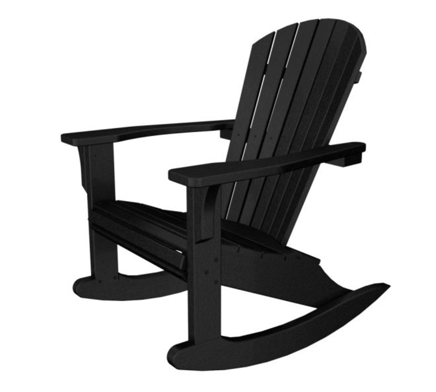 Recycled Earth Friendly Seashore Outdoor Patio Adirondack Rocking Chair    Black