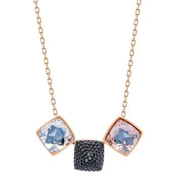 Swarovski Glance 18K Rose Gold-Plated Black Crystal Pendant Necklace