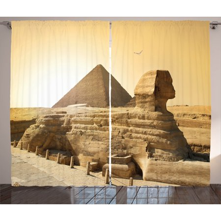 Ancient Decor Curtains 2 Panels Set, Egyptian Pyramids Famous Great Landmark Wonders of the World Heritage View, Window Drapes for Living Room Bedroom, 108W X 84L Inches, Sand Brown, by Ambesonne (Egyptian Panel)